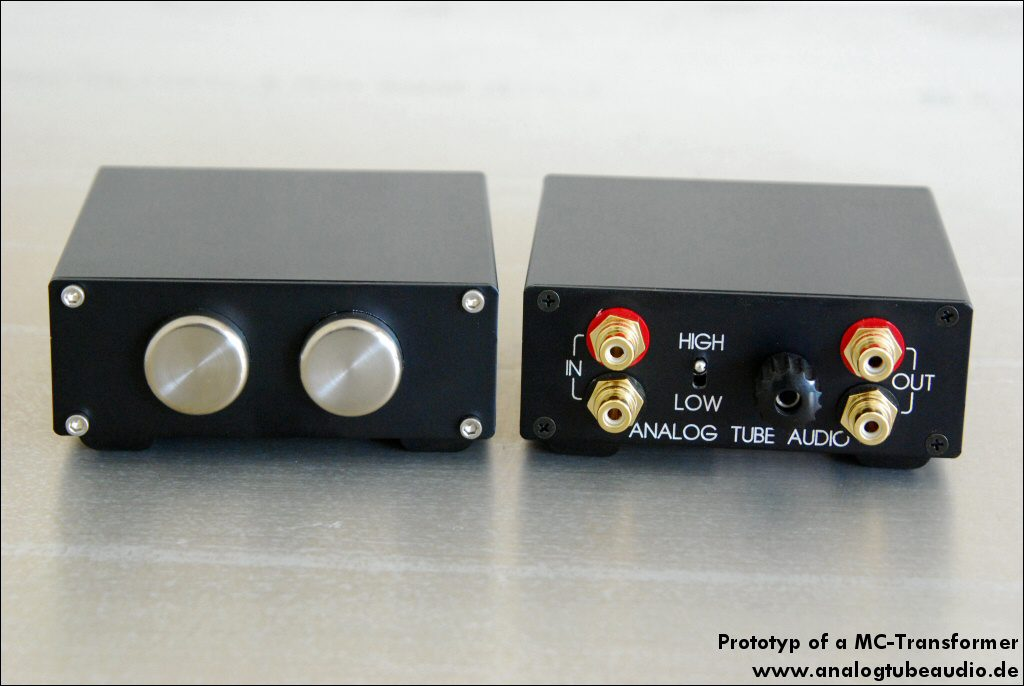 Prototyp MC transformer with two input impedances for low and high impedance cartridges
